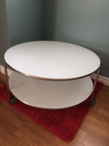 Modern white glass coffee table