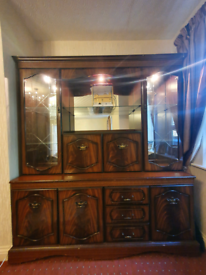 Display cabinet large with drawers, shelves and mirror