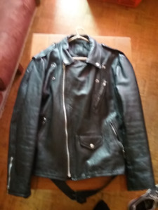 Men's Leather Biker Jacket  (Medium Size)