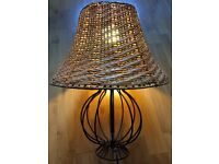 IKEA black lamp & 2 matching wicker lampshades