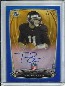 Tommy Rees 2014 Bowman Chrome Blue Refractor Autograph Rookie #84/99