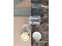 140 Glass Jars with Lids, never used, 5cms