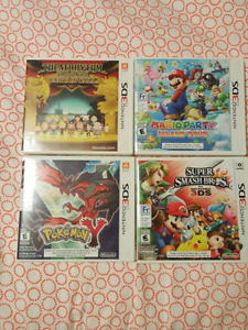 4 3DS Games (Pokemon Y/Smash Bros/Mario Party/Final Fantasy)