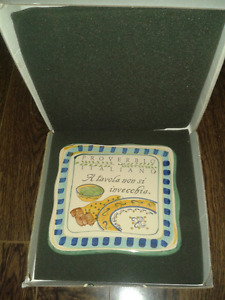 """HAND PAINTED CERAMIC SIGNED CORTOPASSI PLAQUE"""