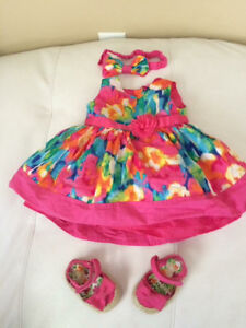 Dress, shoes and headband size 3-6 months
