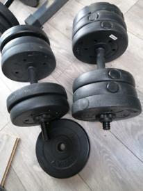 25kg total Dumbells 12.5kg x 2 plus 4kg for dumbell bars weights gym