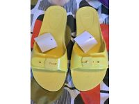 Brand new yellow Scholl sandals size 4.