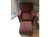 Next stripy plum armchair and footstool.
