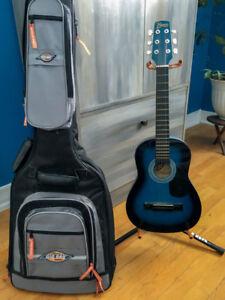 Guitare d'enfant avec étui et trépied