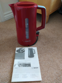 NEW BOSCH RED GREY KETTLE, 1.7L TANK, LOCKING LID, CONCEALED ELEMENT