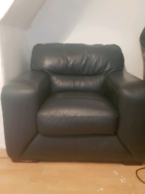 Dark blue leather chair FREE TO COLLECT