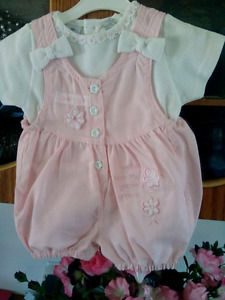 New, Adorable baby girl's Playsuit and cap