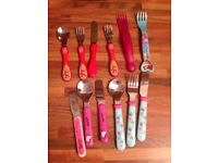 Children's first cutlery sets, stainless steal tips