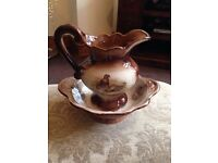 Antique Staffordshire Iron Ware Pheasant Jug & Bowl set