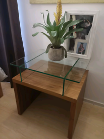 Wooden and glass coffee side table
