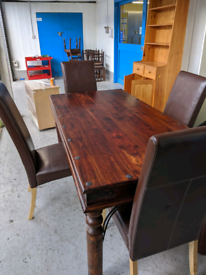 Mango wood dining table x4 brown leather dining chairs