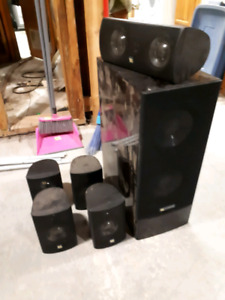 4 surround speakers, center and woofer