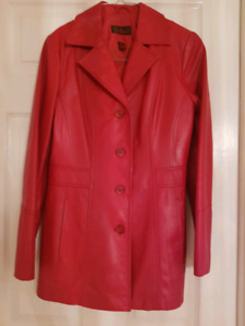 Danier Womens Red Leather Coat Small