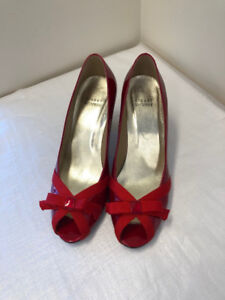 Stuart Weitzman Red Patent Leather Peep toe heels - Size 8.5