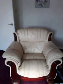 Cream leather chair very comfy and no damage