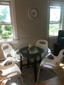 Glass-top Kitchen Table with 2 Matching Side Tables
