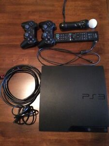 PS3 Console, 2 Wireless Controllers, PS3 Move, Cables & Games