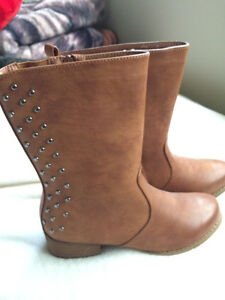 Camel Boots with Studs  - Size 8
