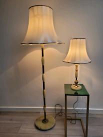 Pair of Antique Onyx Lamps
