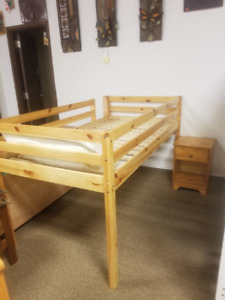 Used Pine Loft Bed and Night Table