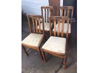 SET OF 4 VINTAGE DINING CHAIRS SHABBY CHIC PROJECT ** FREE DELIVERY AVAILABLE **