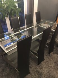 REDUCED 8 Seat Dining Table and Chairs Glass Extending