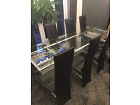 8 Seat Dining Table and Chairs Glass Extending