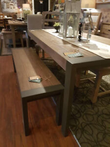 Rustic Reclaim solid wood table,4 chairs and bench