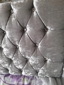 Crushed velvet diamante headboard