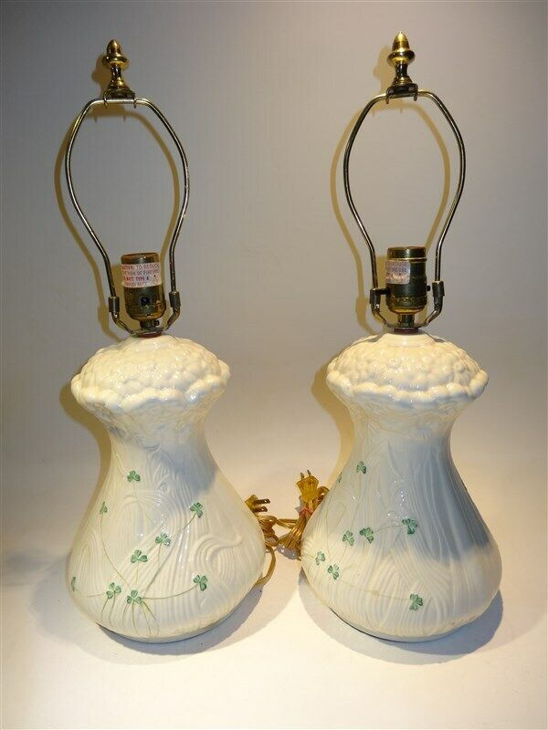 Pair Beleek Pottery Lamps