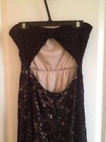 Black nude lace backless maxi dress women's S M