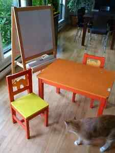 Ikea table and chairs with Ikea blackboard