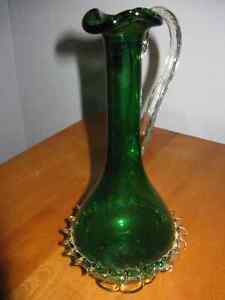 Handblown Green Art Glass bottle with applied details London Ontario image 3