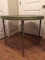 Mid Century Round, Green Metal Foldable Card Table