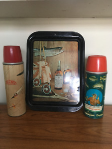 Fishing Thermos and Fly fishing Canadian Club advertising tray