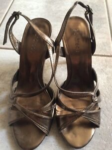 Le chateau strappy high heel sandals metallic bronze 10