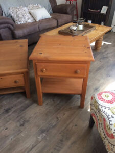 set of 3 coffee and end tables set  solid pine $200 for the set