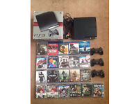 PS3 Slim 250gb + 17 games + 4 blue rays + 3 controllers