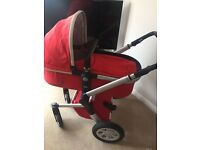 Joolz Pram Pushchair In Red With Raincover