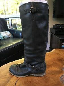 Grey Leather Steve Madden 'Roady' Boots