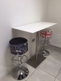 Dwell white gloss bar table and 2 bar stools