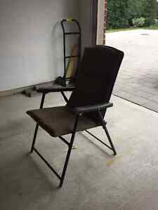 2 Folding Chairs & a Bench