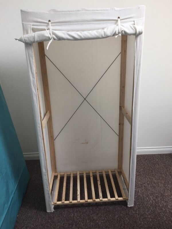 Canvas and wood wardrobe frame