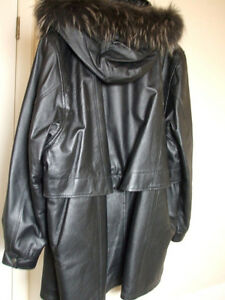 Womwn's Black Leather Winter Coat