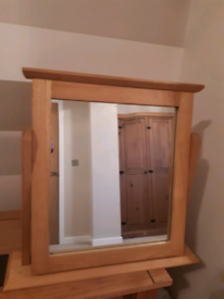 Free standing mirror in wooden frame, good condition